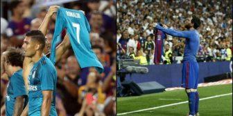 Cristiano Ronaldo se la devolvió a Messi: enseñó la camiseta al Camp Nou tras su golazo
