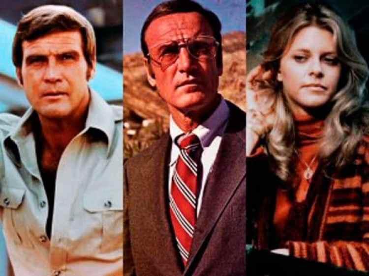 Richard Anderson, centro, junto a Lee Majors, El Hombre Nuclear, y Lindsay Wagner, la Mujer Biónica, un trío exitoso en la televisión de la década de los ochenta. (ABC)