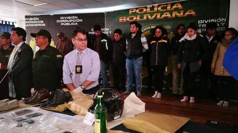 Autoridades de la Policía y el Ministerio de Gobierno presentaron a los acusados.