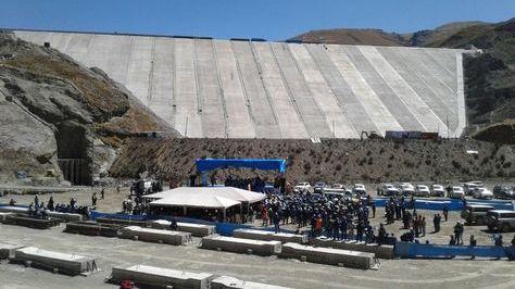 Una vista de la represa de Misicuni