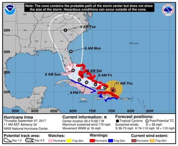 Pronóstico del Huracán Irma. Boletín de las 11 am – jueves 7