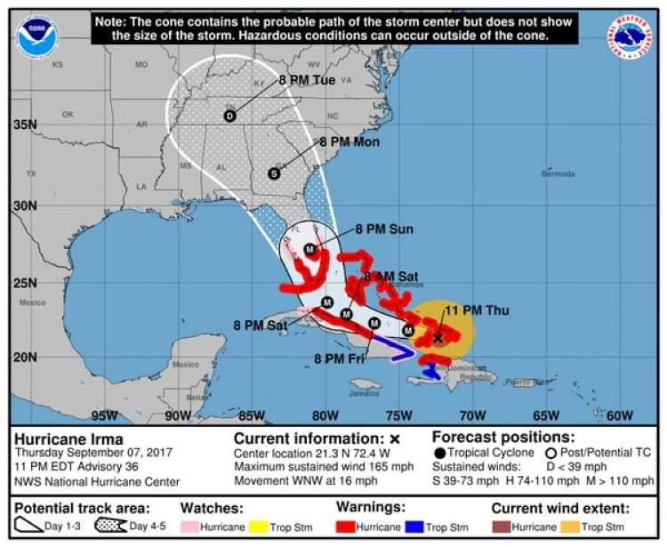 Pronóstico del Huracán Irma. Boletín de las 11 pm – jueves 7