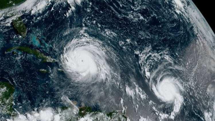 El huracán José, en la esquina inferior derecha de la imagen, sigue la estela de Irma por el Caribe.