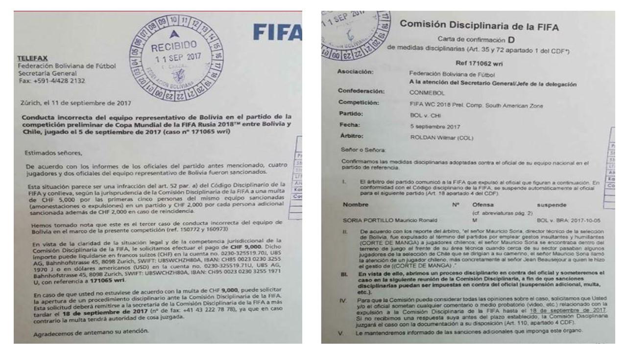 FIFA aplicó dura sanción a Bolivia por incidentes en duelo contra Chile