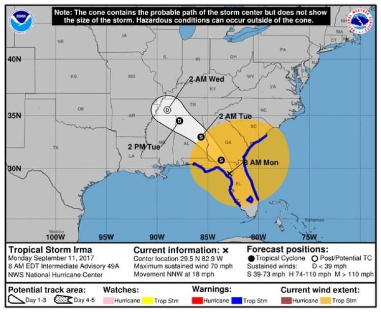Pronóstico del Huracán Irma. Boletín del NHC de las 8am – lunes 11 de septiembre