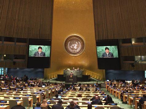 El presidente Evo Morales durante su intervención en la ONU. Foto ABI