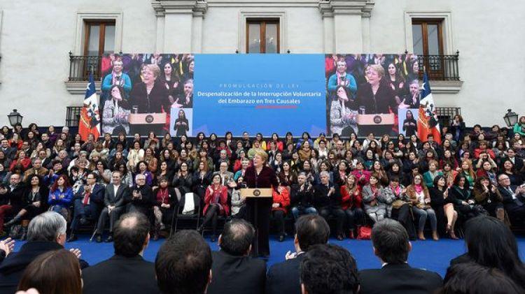 Acto de Michelle Bachelet el jueves en el palacio de La Moneda (EFE)