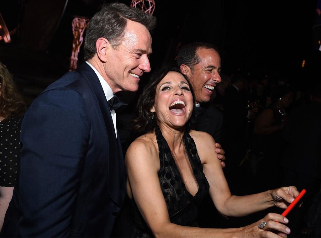 Bryan Cranston, Julia Louis-Dreyfus, Jerry Seinfeld, 2016 Emmy Awards, Candids