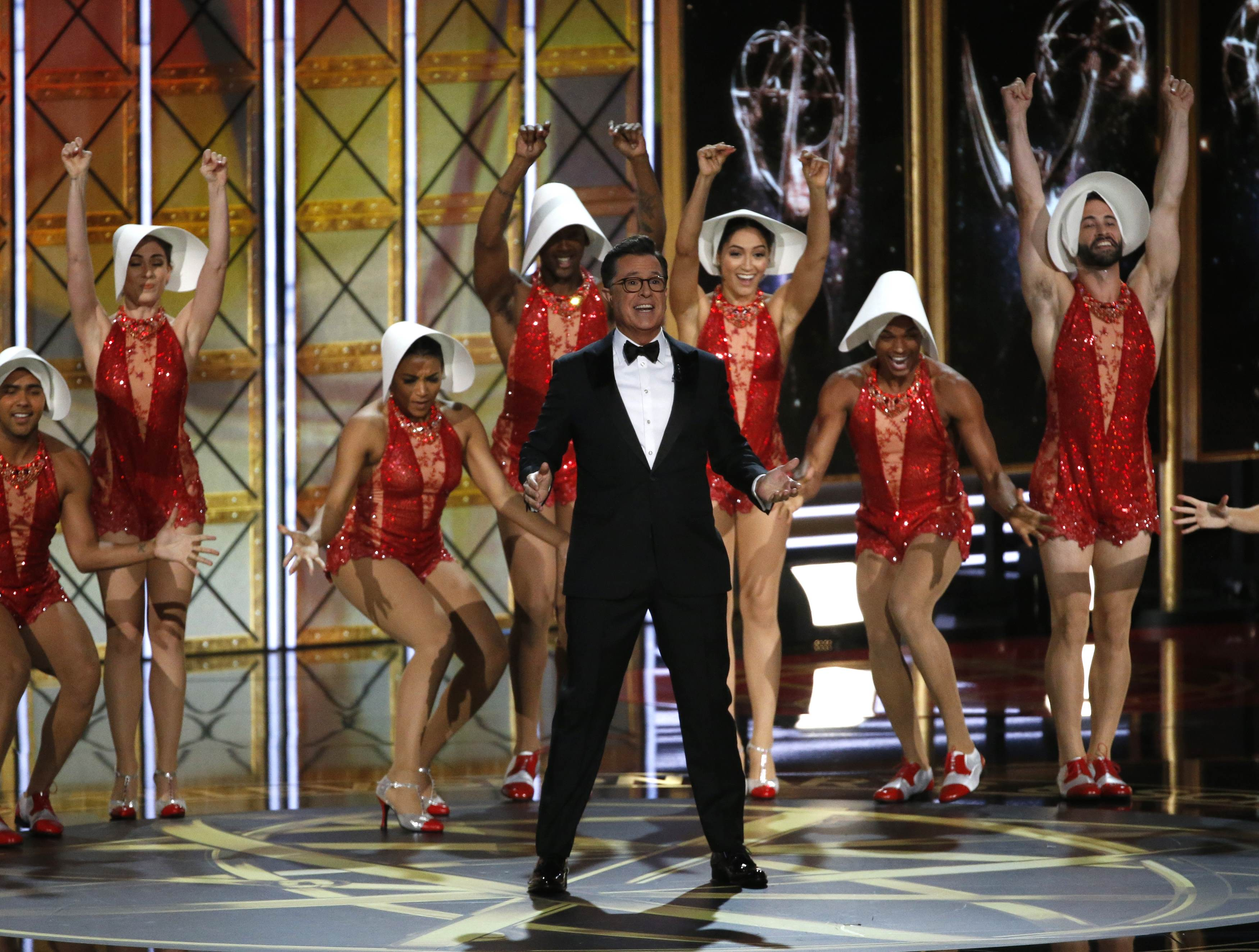 69th Primetime Emmy Awards – Show – Los Angeles, California, U.S., 17/09/2017 - Host Stephen Colbert opens the show. REUTERS/Mario Anzuoni