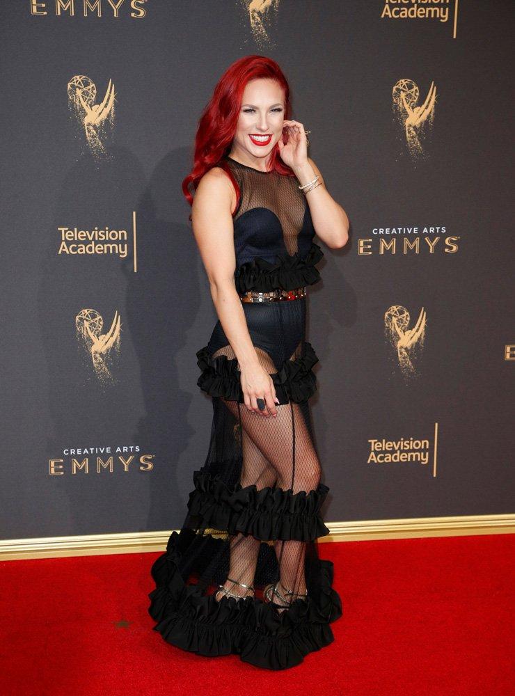 Dancer Sharna Burgess poses at the 2017 Creative Arts Emmy Awards in Los Angeles, California, U.S. September 9, 2017. REUTERS/Danny Moloshok