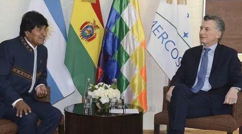 El presidente de Bolivia, Evo Morales, y su par de Argentina, Mauricio Macri, en la cita de del Mercosur en julio. Foto archivo Foto: Presidencia - Argentina.