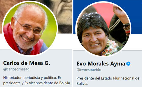 Cuentas en twitter de Carlos de Mesa G. y Evo Morales Ayma