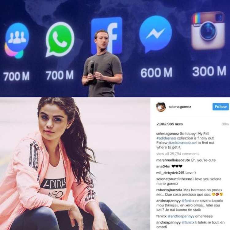 Mark Zuckerberg logró catapultar a Instagram a otra categoría, sin canibalizar a Facebook en el proceso. Debajo, Selena Gomez convertida en la persona más seguida dentro de dicha plataforma