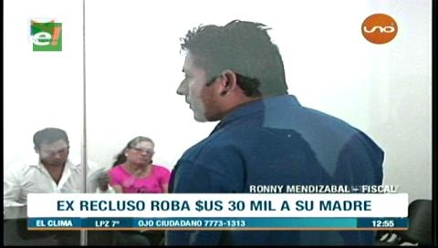 Hijo que robó $us 30 mil a su madre es enviado a Palmasola