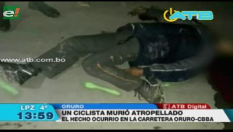 Ciclista muere tras ser atropellado en la carretera Oruro-Cochabamba