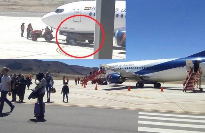 El avión de BOA se detuvo una vez que chocó con el carro transportador de maletas. Fotos: Gentileza