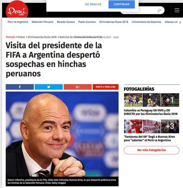 Los sitios peruanos denunciaron las sospechas