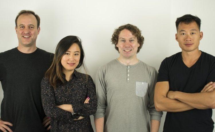 De izquierda a derecha, los fundadores de Atrium: Augie Rakow, from left, BeBe Chueh, Chris Smoak y Justin Kan. (Cortesía de Atrium / The Washington Post)