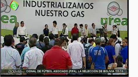 El presidente Evo Morales en el inicio de la comercialización de urea