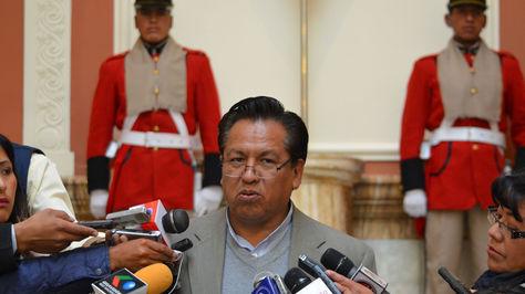 El ministro de la Presidencia, René Martínez, informe sobre la reunión de gabinete. Foto:ABI