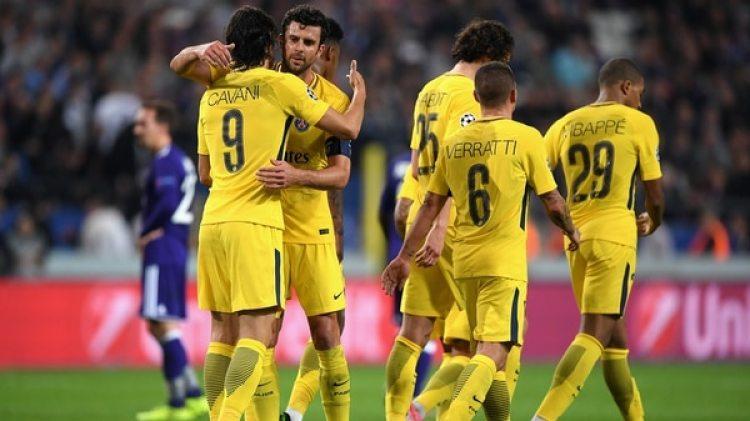 Cavani marcó uno de los cuatro goles del PSG ante el Anderlecht (Getty Images)