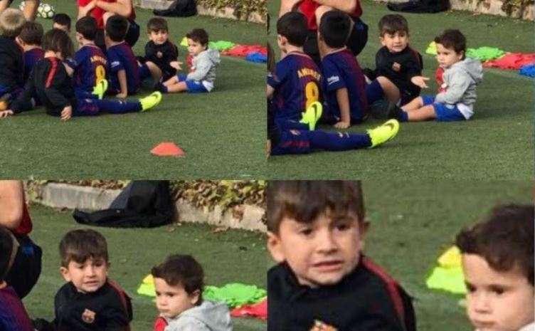 Messi le hizo un meme a uno de sus hijos por