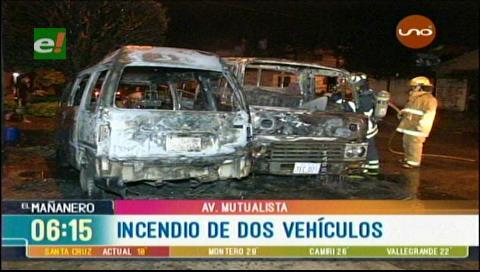 Dos vehículos se incendiaron
