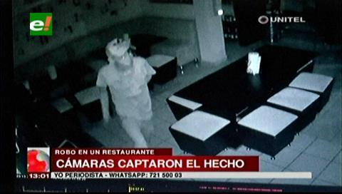 Delincuente roba la caja fuerte de un restaurante