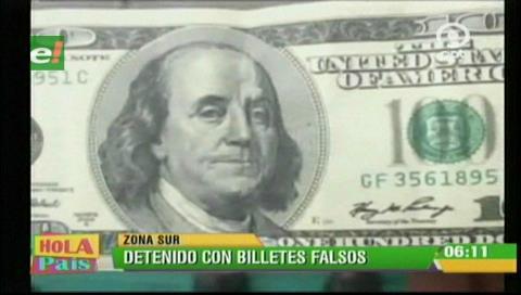 Aprehenden por segunda vez a falsificador de billetes de 100 dólares en La Paz