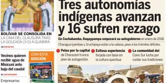 Portadas de periódicos de Bolivia del domingo 22 de octubre de 2017