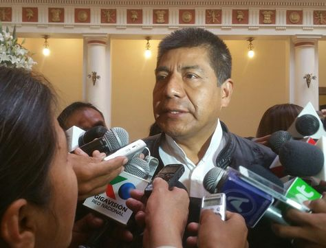 El canciller Huanacuni en una rueda de prensa tras el gabinete ministerial de este miércoles.