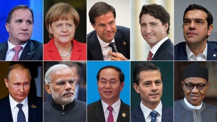 Arriba: Stefan Löfven (Suecia), Angela Merkel (Alemania), Mark Rutte (Holanda), Justin Trudeau (Canadá) y Alexis Tsipras (Grecia). Abajo: Vladimir Putin (Rusia), Narendra Modi (India), Trần Đại Quang (Vietnam), Enrique Peña Nieto (México) y Muhammadu Buhari (Nigeria).