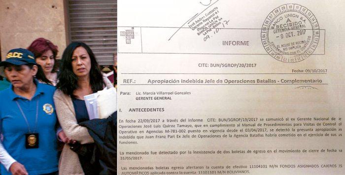 MARIHELA VALDÉS ROMERO, SUBGERENTE REGIONAL DE OPERACIÓN DEL BANCO UNIÓN, SALE ESCOLTADA TRAS OTRO DE LOS FUNCIONARIOS PROCESADOS.