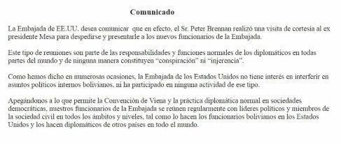 Comunicado de la embajada de EEUU sobre la reunión con Mesa.