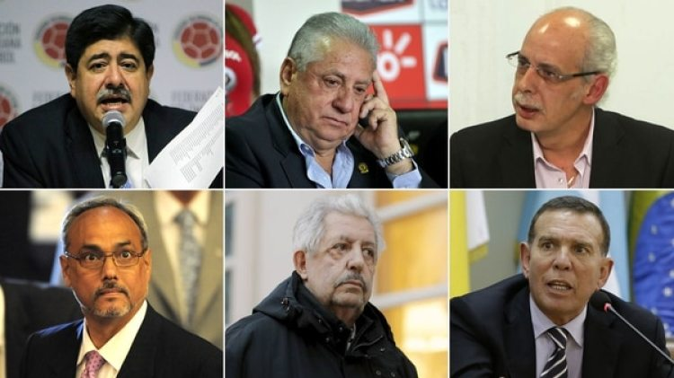 Luis Bedoya(Colombia), Luis Chiriboga (Ecuador), Carlos Chávez (Bolivia), Manuel Burga (Perú), Rafael Esquivel (Venezuela) y Juan Ángel Napout (Paraguay)