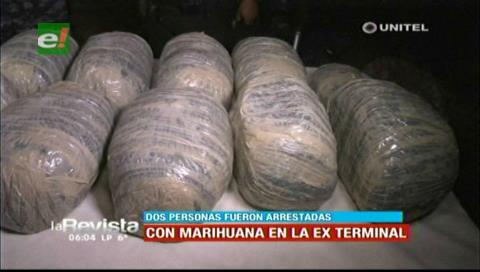 Detienen a dos sujetos en poder de 12 paquetes de marihuana por la exterminal