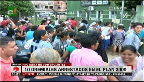 Gremiales exigen la liberación de sus compañeros detenidos durante desalojo en el Plan Tres Mil