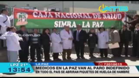 Médicos de La Paz ingresan a paro indefinido este jueves
