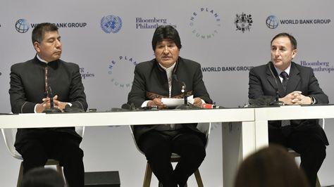 El presidente Evo Morales en la conferencia de prensa que ofreció en París. Foto: Ministerio de la Presidencia