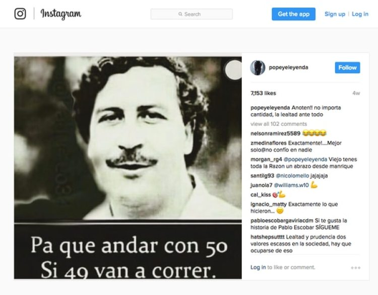 Popeye rinde tributo a Escobar en las redes sociales