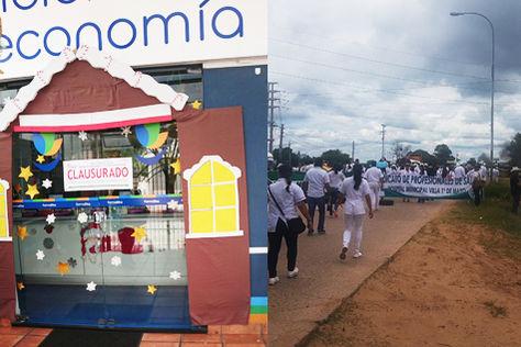 A la izquierda, una farmacia clausurada por el Gobierno y su diestra el bloqueo en Palmasola.