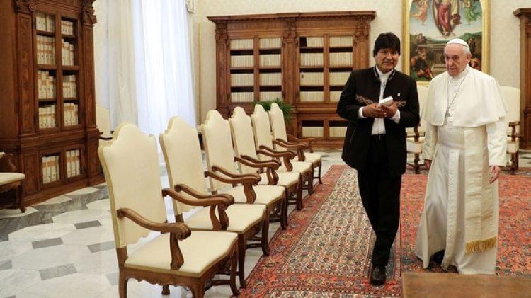 Evo Morales en su última visita al papa Francisco la semana pasada (Reuters)