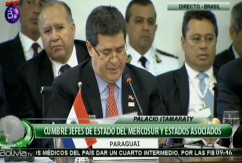 El presidente de paraguay, horacio cartes, brinda su discurso en la Cumbre del Mercosur. Foto: Bolivia TV