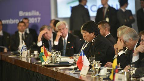 El presidente Evo Morales durante su intervención en el Mercosur. Foto:ABI