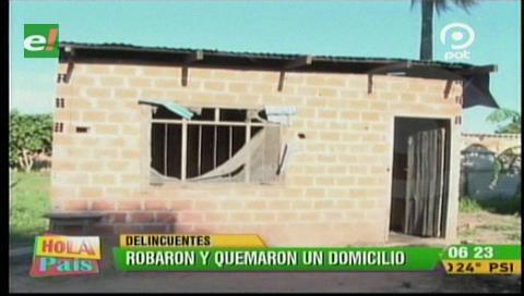 Santa Cruz: Delincuentes roban y queman una casa