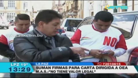 Recolectan firmas para consultar a la OEA si es legal la repostulación de Evo