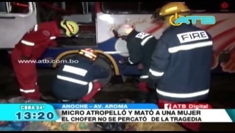 Un micro aplastó a una mujer en Cochabamba