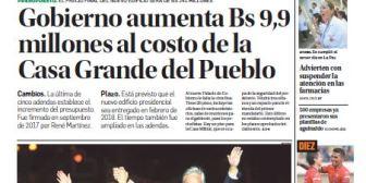 Portadas de periódicos de Bolivia del lunes 18 de diciembre de 2017