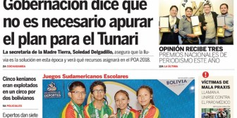 Portadas de periódicos de Bolivia del sábado 9 de diciembre de 2017