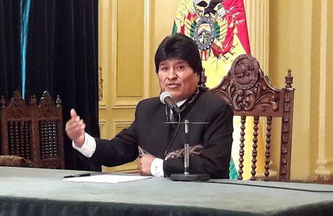 El presidente Evo Morales durante la conferencia de prensa de este miércoles.